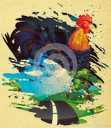 Free Grunge Rooster Royalty Free Stock Photography - 55147247