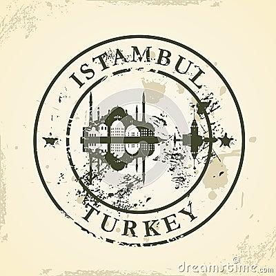 Grunge rubber stamp with Istambul, Turkey