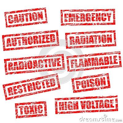 grunge rubber stamps - warning