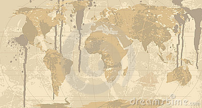 A Grunge, Rustic World Map.