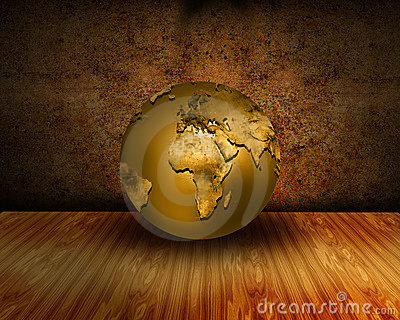Grunge interior with golden world globe