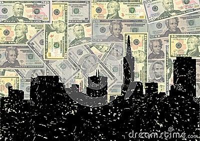 Grunge San Francisco skyline with dollars