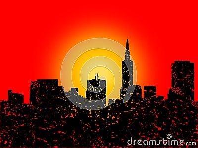 Grunge San Francisco skyline with sunset