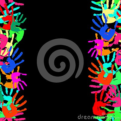 Grunge seamless frame from prints of hands. Vector