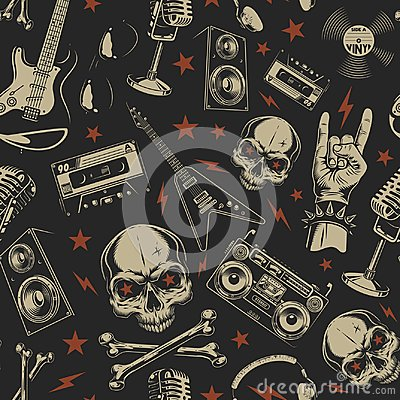 Free Grunge Seamless Pattern With Skulls Royalty Free Stock Photography - 117288287