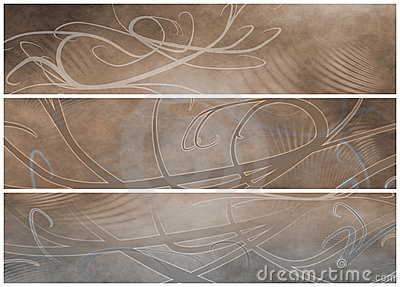Grunge Sepia and Gray Headers or Banners