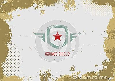Grunge shield design element on grunge background