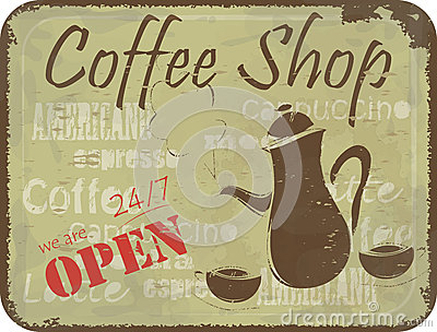 Grunge sign pattern for coffee shop