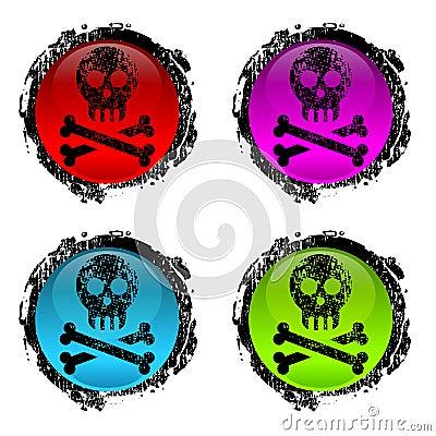 Grunge signs of human skull