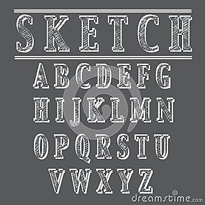 Grunge sketch style alphabet