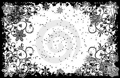 Grunge snowflakes frame, vector