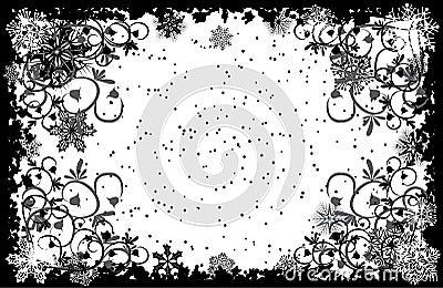Grunge snowflakes frame, vector