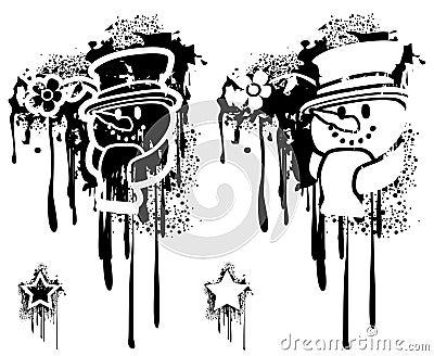 Grunge snowman head