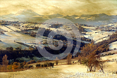 Grunge snowy landscape