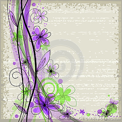 Free Grunge Spring Floral Background With Green And Violet Flowers Stock Photo - 37430490