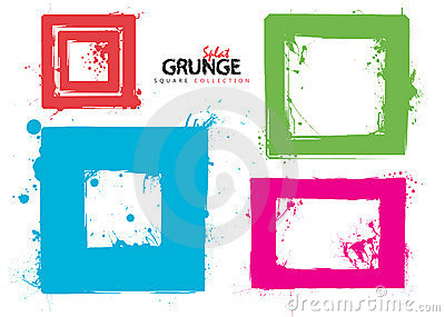 Grunge square collection ink