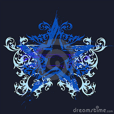 Grunge star , flowers ornament