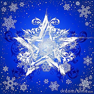 Grunge star & snowflakes