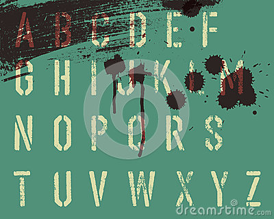 Grunge stencil alphabet with drops and streaks