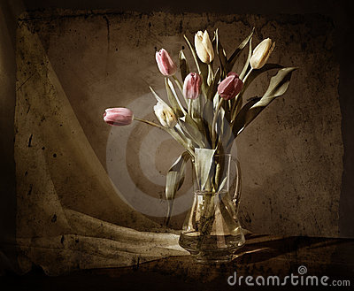 Grunge still-life with tulips