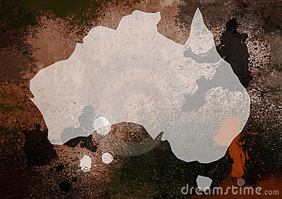 Grunge Styde Map of Australia