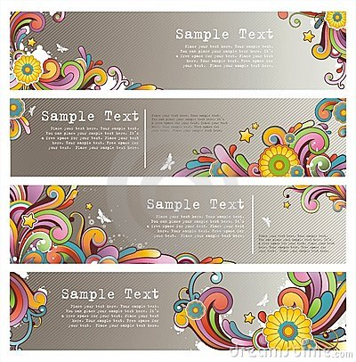 Free Grunge Stylish Colored Banners Stock Image - 10552941