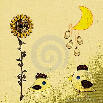 Grunge sunflower and moon