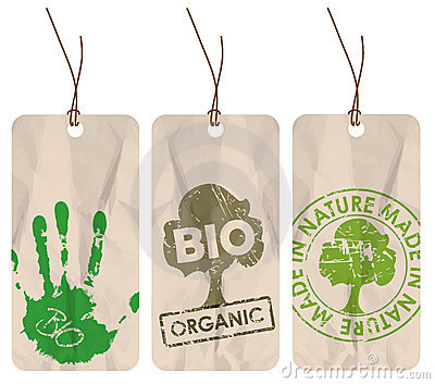 Grunge tags for organic / bio / eco