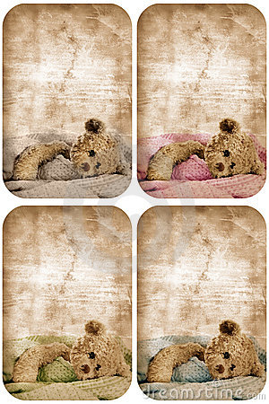 Grunge teddy bear card.
