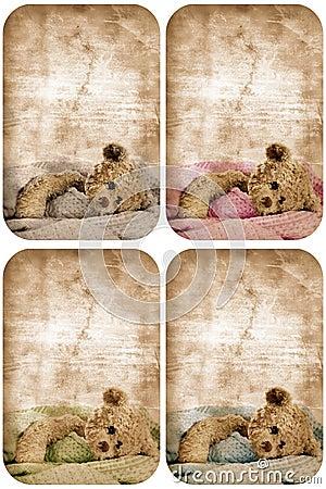 Grunge teddy bear card.
