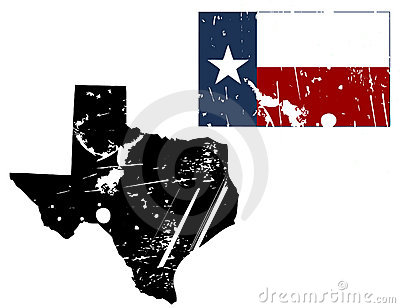Grunge texas map with flag