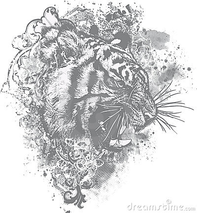 Free Grunge Tiger Floral Illustration Stock Photos - 10912393