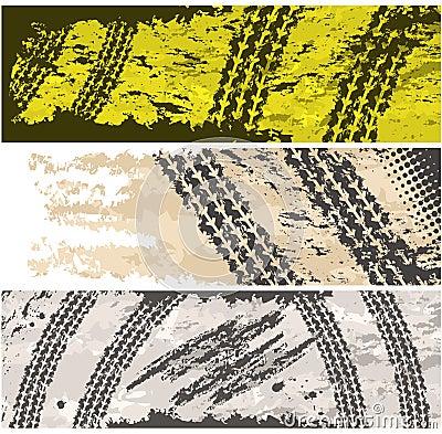 Grunge tire tracks banners