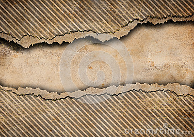 Grunge torn cardboard background with stripes
