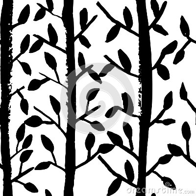 Free Grunge Tree Leaves Seamless Pattern. Black And White Scrapbooking Design Element. Vector Illustration. Stock Photo - 110423780