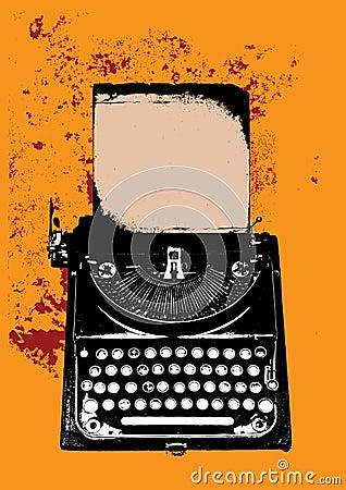 Grunge typewriter with a sheet