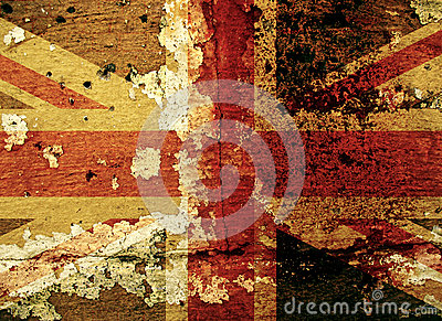 Grunge UK flag on an old wall