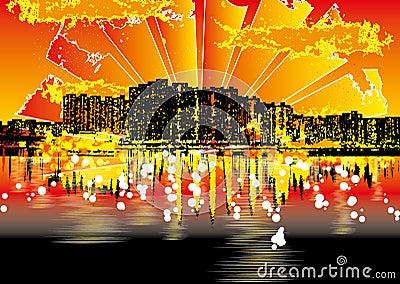 Grunge urban cityscape