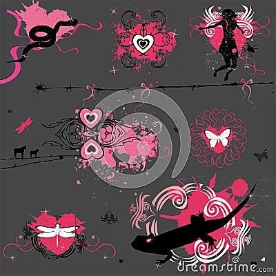 Grunge Valentine elements
