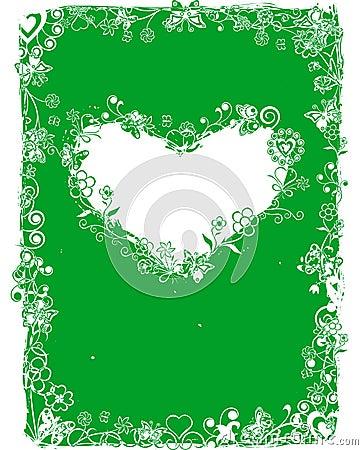 Grunge valentine frame, vector