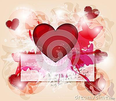 Grunge valentine postcard