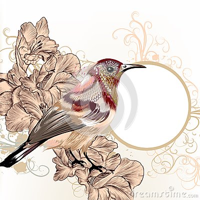 Grunge vector background with hand drawn bird in vintage style