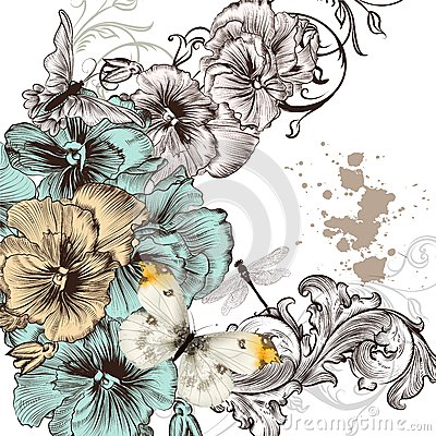 Grunge vector background with violent  flowers for design