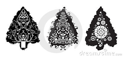 Grunge vector Christmas Trees