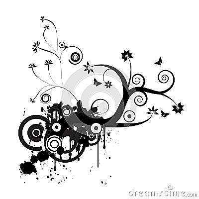 Grunge vector floral design