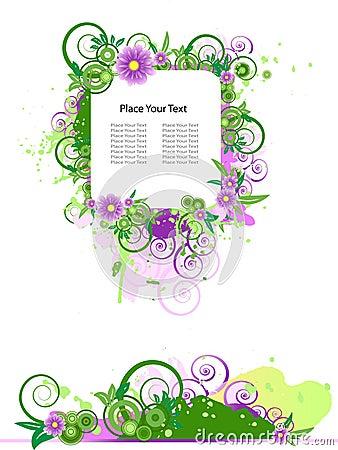 Grunge vector floral design.