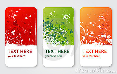 Grunge vector flower labels banners or visit cards
