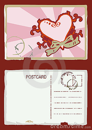 Grunge vector heart postcard