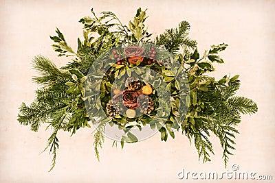 Grunge Victorian Christmas Old Floral Arrangement