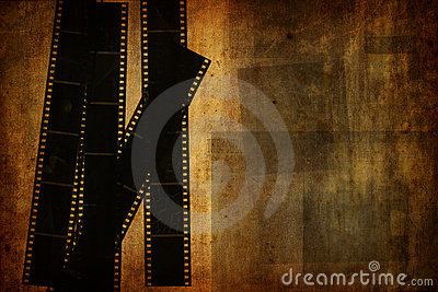 Grunge vintage background with used film strips